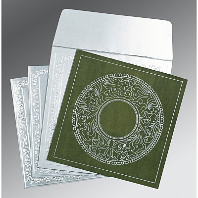 Green Wooly Screen Printed Wedding Card : D-8214L - 123WeddingCards