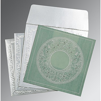 Green Wooly Screen Printed Wedding Card : D-8214P - 123WeddingCards