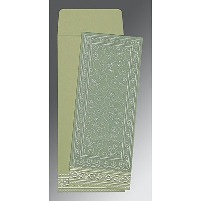 Green Wooly Screen Printed Wedding Invitation : D-8220G - 123WeddingCards