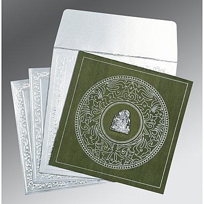 Green Wooly Screen Printed Wedding Invitations : G-8214L - 123WeddingCards