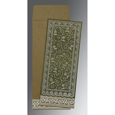 Green Wooly Screen Printed Wedding Invitations : IN-8220Q - 123WeddingCards