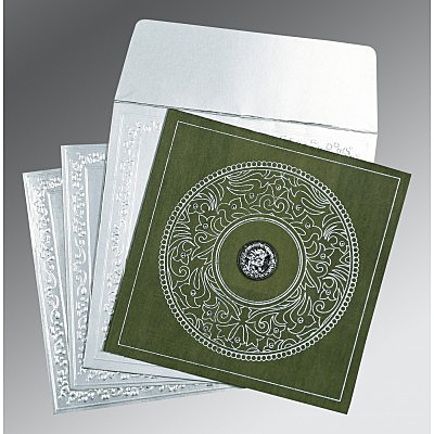 Green Wooly Screen Printed Wedding Invitations : RU-8214L - 123WeddingCards