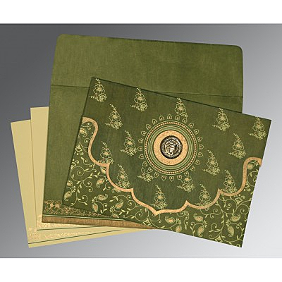 Green Wooly Screen Printed Wedding Invitations : S-8207H - 123WeddingCards
