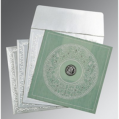 Green Wooly Screen Printed Wedding Card : S-8214P - 123WeddingCards