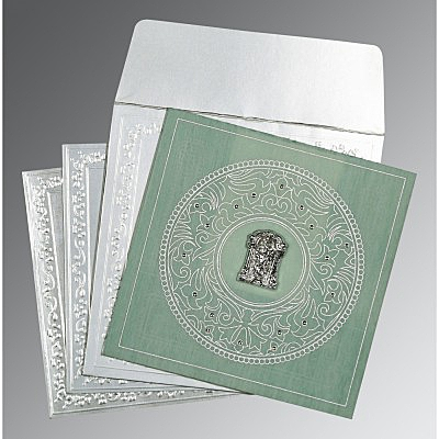 Green Wooly Screen Printed Wedding Card : SO-8214P - 123WeddingCards