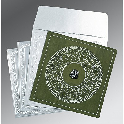 Green Wooly Screen Printed Wedding Card : W-8214L - 123WeddingCards