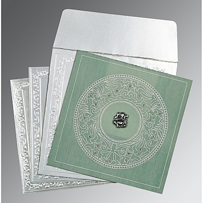 Green Wooly Screen Printed Wedding Card : W-8214P - 123WeddingCards