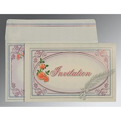 Ivory Embossed Wedding Card : C-1327 - 123WeddingCards