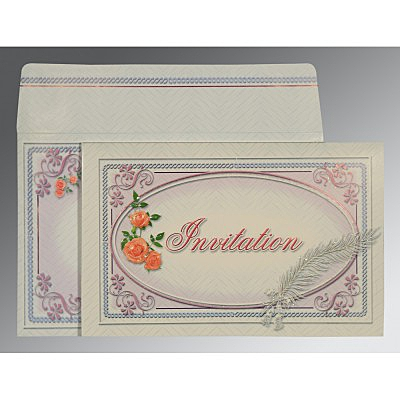 Ivory Embossed Wedding Card : RU-1327 - 123WeddingCards