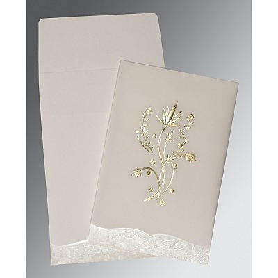 Ivory Floral Themed - Foil Stamped Wedding Card : W-1495 - 123WeddingCards