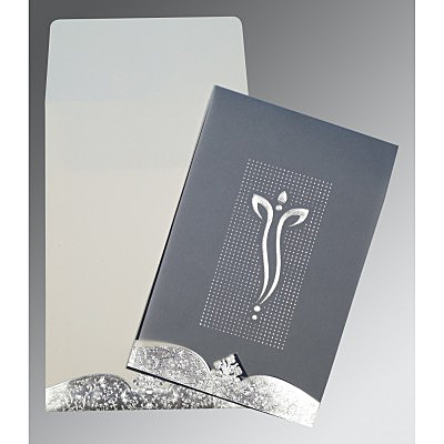 COBALT BLUISH GREY FOIL EMBOSSED WEDDING INVITATION : IN-2279 - 123WeddingCards