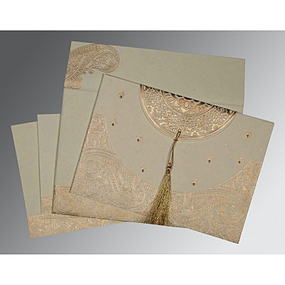 Ivory Handmade Cotton Embossed Wedding Card : RU-8234B - 123WeddingCards