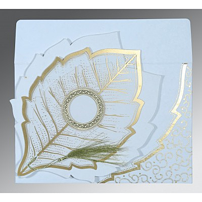 Ivory Handmade Cotton Floral Themed - Foil Stamped Wedding Card : C-8219H - 123WeddingCards