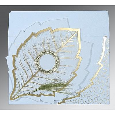 Ivory Handmade Cotton Floral Themed - Foil Stamped Wedding Card : CIN-8219H - 123WeddingCards