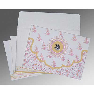 Ivory Handmade Silk Screen Printed Wedding Invitation : C-8207I - 123WeddingCards