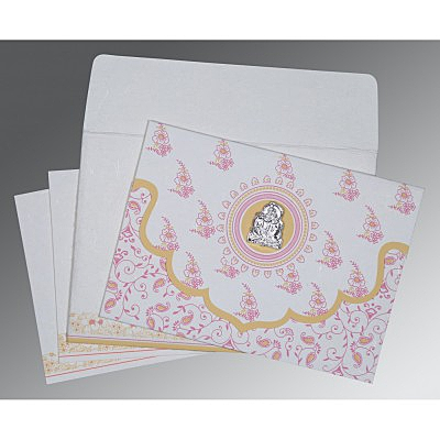 Ivory Handmade Silk Screen Printed Wedding Invitation : G-8207I - 123WeddingCards
