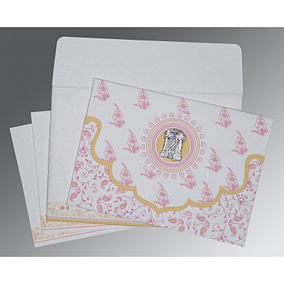 Ivory Handmade Silk Screen Printed Wedding Invitations : SO-8207I - 123WeddingCards