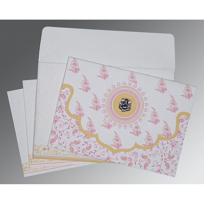 Ivory Handmade Silk Screen Printed Wedding Invitation : W-8207I - 123WeddingCards