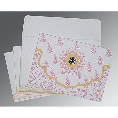 Ivory Handmade Silk Screen Printed Wedding Invitations : W-8207I - 123WeddingCards