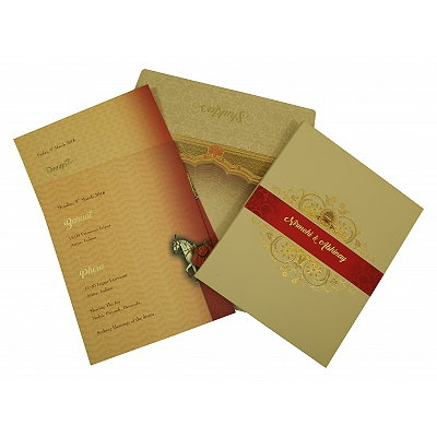 Ivory Matte Box Themed - Foil Stamped Wedding Invitation : D-1828 - 123WeddingCards