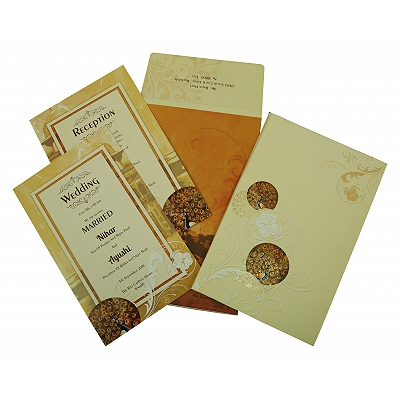 Ivory Matte Box Themed - Foil Stamped Wedding Invitation : SO-1829 - 123WeddingCards