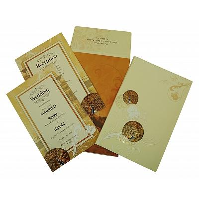 Ivory Matte Box Themed - Foil Stamped Wedding Invitation : W-1829 - 123WeddingCards