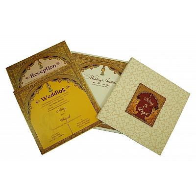Ivory Matte Box Themed - Offset Printed Wedding Invitation : RU-1826 - 123WeddingCards