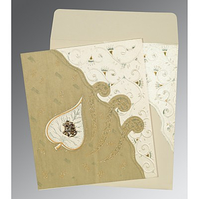 Ivory Matte Embossed Wedding Invitation : C-1197 - 123WeddingCards