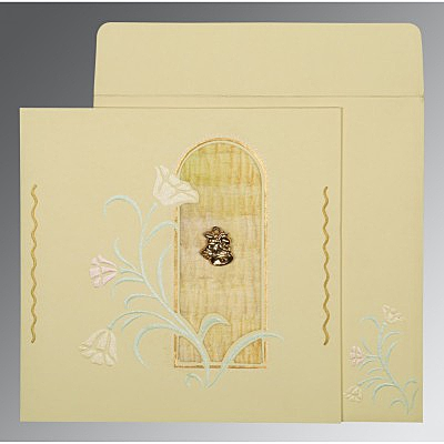 Ivory Matte Embossed Wedding Card : C-1203 - 123WeddingCards