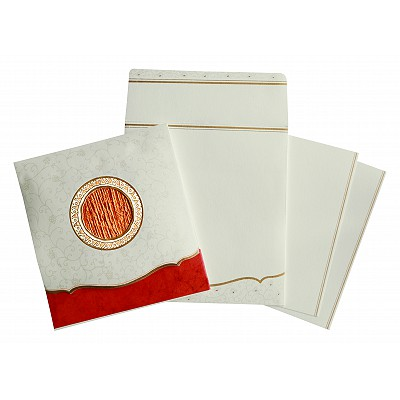 Ivory Matte Embossed Wedding Invitation : D-1171 - 123WeddingCards