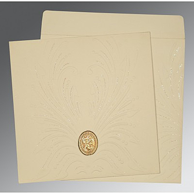 Ivory Matte Embossed Wedding Invitation : I-1188 - 123WeddingCards