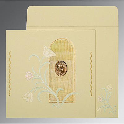 Ivory Matte Embossed Wedding Card : I-1203 - 123WeddingCards