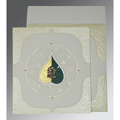 OFF-WHITE MATTE EMBOSSED WEDDING CARD : IN-1153 - 123WeddingCards
