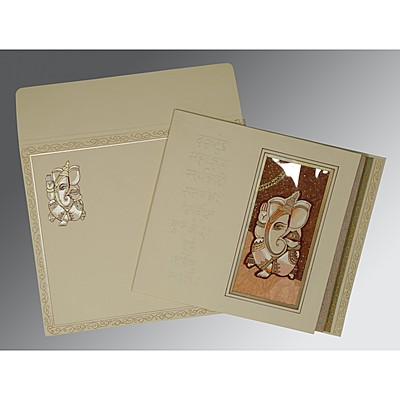 Ivory Matte Embossed Wedding Card : IN-2005 - 123WeddingCards