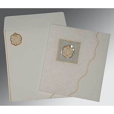 Ivory Matte Embossed Wedding Invitation : IN-2076 - 123WeddingCards