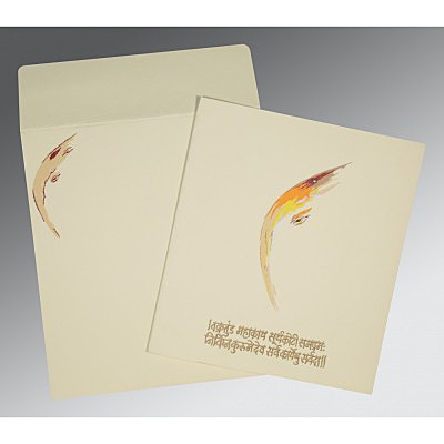 Ivory Matte Embossed Wedding Invitations : IN-2111 - 123WeddingCards