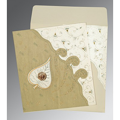 Ivory Matte Embossed Wedding Invitation : RU-1197 - 123WeddingCards
