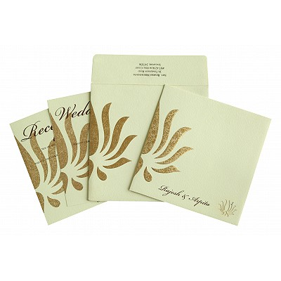 Ivory Matte Embossed Wedding Invitation : RU-1738 - 123WeddingCards
