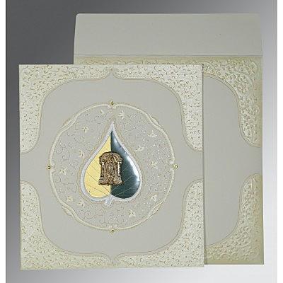 Ivory Matte Embossed Wedding Card : SO-1153 - 123WeddingCards