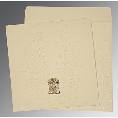 Ivory Matte Embossed Wedding Invitation : SO-1188 - 123WeddingCards