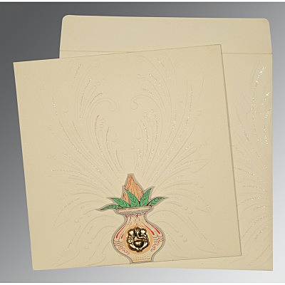 Ivory Matte Embossed Wedding Invitation : W-1188 - 123WeddingCards