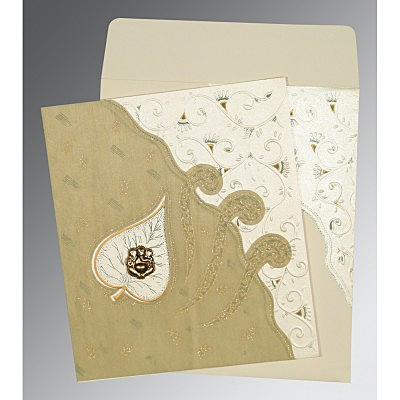 Ivory Matte Embossed Wedding Invitation : W-1197 - 123WeddingCards