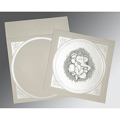 Ivory Matte Embossed Wedding Card : W-2015 - 123WeddingCards