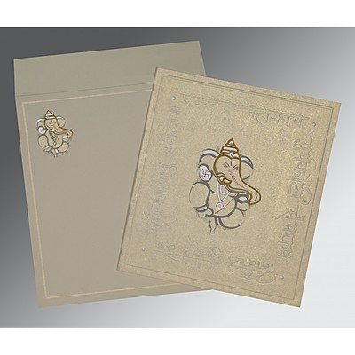 Ivory Matte Embossed Wedding Invitations : W-2068 - 123WeddingCards