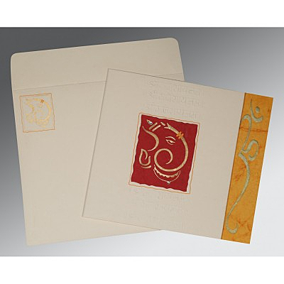Ivory Matte Embossed Wedding Invitation : W-2115 - 123WeddingCards