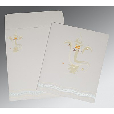 Ivory Matte Embossed Wedding Invitations : W-2169 - 123WeddingCards