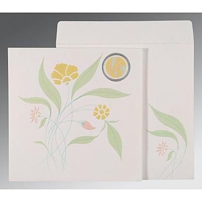 Ivory Matte Floral Themed - Embossed Wedding Invitation : D-1114 - 123WeddingCards