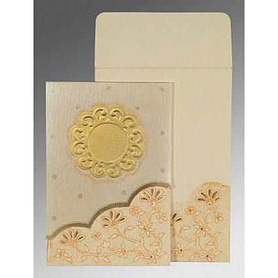 Ivory Matte Floral Themed - Screen Printed Wedding Card : D-1183 - 123WeddingCards