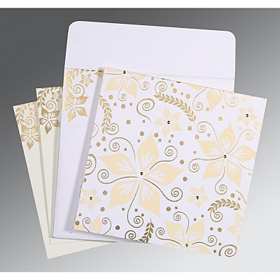 Ivory Matte Floral Themed - Screen Printed Wedding Invitation : S-8240D - 123WeddingCards