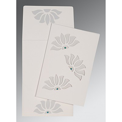 Ivory Matte Floral Themed - Screen Printed Wedding Invitation : W-1254 - 123WeddingCards